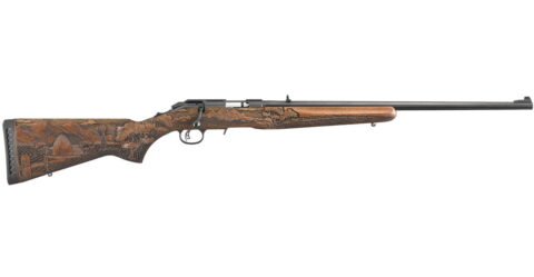 Ruger American Rimfire 22WMR Bolt-Action Rifle with Carved American Farmer Stock