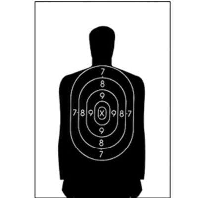 "Action Target B-34 Qualification Target 25 Yard 17.5"" x 23"" Paper Black"