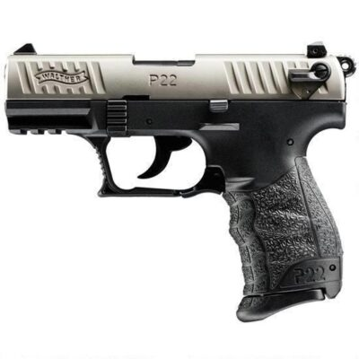 "Walther P22-CA Semi Auto Handgun .22 LR 3.42"" Barrel Polymer Frame Nickel Slide 10 Rounds Adjustable Sights Non Threaded Barrel 5120336"