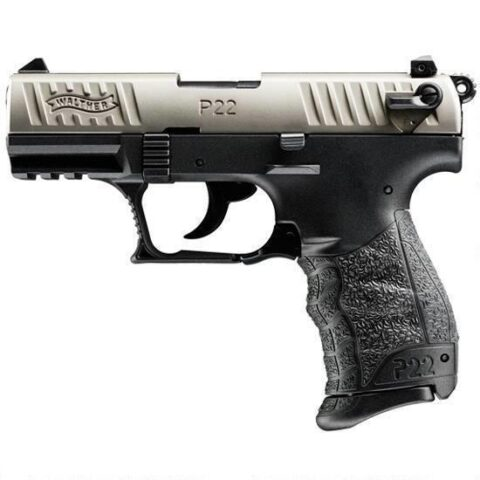 "Walther P22-CA Semi Auto Handgun .22 LR 3.42"" Barrel Polymer Frame Nickel Slide 10 Rounds Adjustable Sights Non Threaded Barrel 5120336"