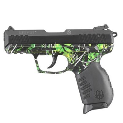 "Ruger SR22 Semi Auto Pistol .22 Long Rifle 3.50"" Barrel 10 Rounds Adjustable 3 Dot Sights Aluminum Slide/Anodized Black Finish Polymer Grip Frame Reduced Moon Shine Camo Toxic Finish"