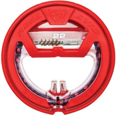 """Real Avid Bore Boss .22 Caliber Single Pass Pull Through Bore Cleaner 32"""" Cable 8.5"""" Mop with Storage Handle"""