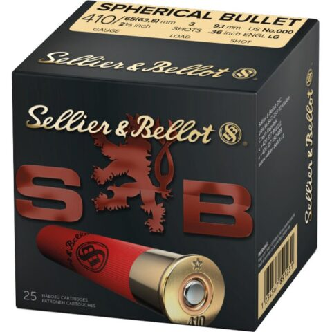 "Sellier & Bellot Spherical Bullet .410 Bore Ammunition 25 Rounds 2-1/2"" 000 Buck 3 Pellets 1247 fps"