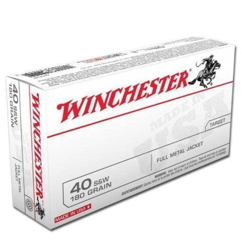 Winchester .40 S&W Ammunition, 50 Rounds, FMJ, 180 Grains