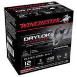 Winchester Drylok 12 Ga 3″ #3 Steel 1.25oz 25 Rounds
