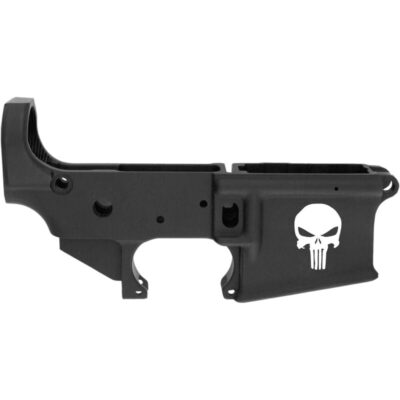 Anderson Manufacturing AR-15 Stripped Lower Receiver .223/5.56 Punisher Skull Mil-Spec Open Trigger Aluminum Black