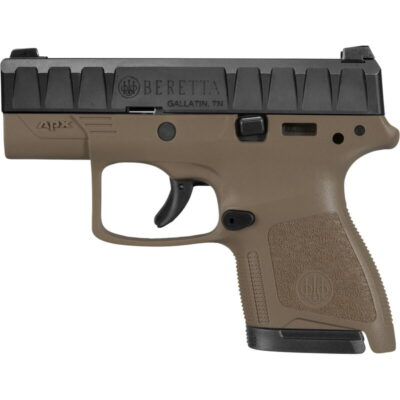 "Beretta APX Carry 9mm Luger Semi Auto Pistol 3"" Barrel 8 Rounds Ergonomic Modular FDE Polymer Grip Frame Black"