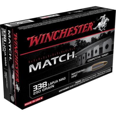 Winchester Match .338 Lapua Ammunition 20 Rounds 250 Grain Sierra MatchKing HPBT 2900fps
