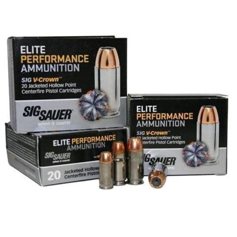 SIG Sauer Elite Performance .45 ACP Ammunition 200 Grain V-Crown JHP 918 fps 20rd