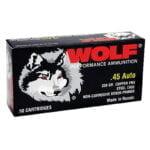 Wolf Polyformance .45 ACP Ammunition 230 Grain Bi-Metal FMJ Steel Case 850 fps 50rd