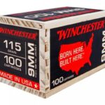 Winchester, Born Here Built Here Ammo, 9MM, 115 GR FMJ, 100 Rounds Per Box