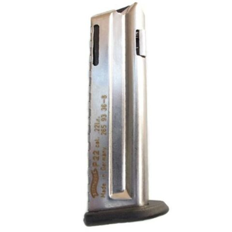 Walther, P22 Magazine, 10 Rounds, .22 Long Rifle, Steel, Nickel Finish