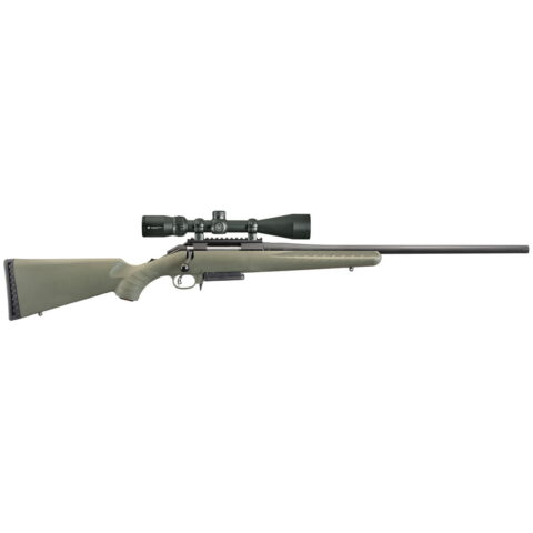 """Ruger American Predator Bolt-Action, 308 Win 18"""" Threaded Barrel, Matte Black Finish, Moss Green Synthetic Stock, w/Vortex Crossfire II Scope, 3Rd Mag"""