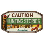 REMINGTON CAUTION EMBOSSED METAL SIGN