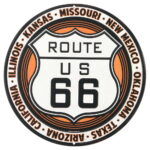 "OPEN ROAD BRANDS DIE CUT EMB TIN SIGN ROUTE 66 12""X12"" RND"