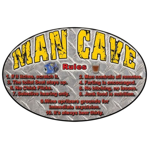 "Rivers Edge ""MAN CAVE RULES"" Sign, 12 x 17 in."