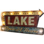 """River's Edge Products 3D """"Lake"""" LED Metal Bar Sign 2″x20″x10.5″"""