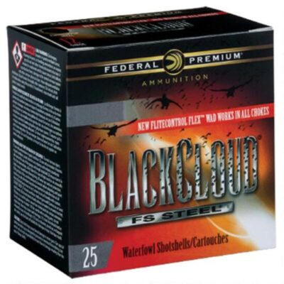 "Federal Black Cloud FS Steel 20 Gauge Ammunition 25 Rounds 3"" #4 1 Ounce Steel Shot Flitecontrol Flex Wad 1350fps"