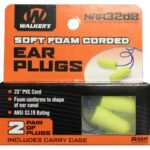 Walkers 2 Pairs Neon Yellow Soft Foam Corded Ear Plugs
