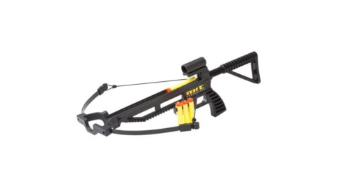 Functional crossbow with sight, kit includes: crossbow, quiver, and 3 foam projectiles.