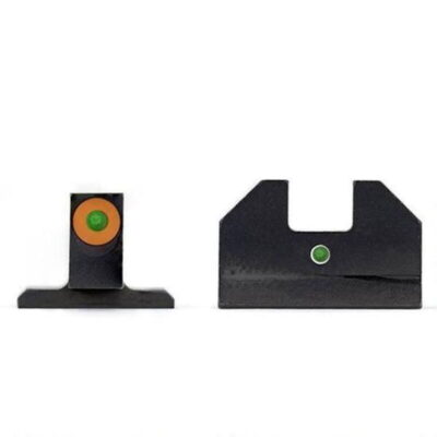 XS Sight Systems F8 Night Sights S&W M&P Full Size/Compact Models Green Tritium Front with Orange Ring/Green Tritium Rear Metal Housing Matte Black Finish