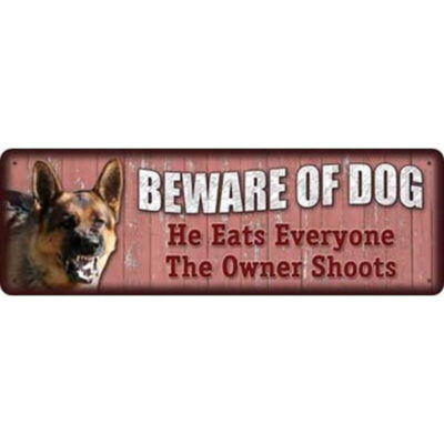River's Edge Products Large Beware of Dog Sign Steel 3.5 by 10.5 inches 1417