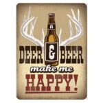 Open Road Brands Deer and Beer Make Me Happy Tin Sign 13″H x 9.5″W Embossed