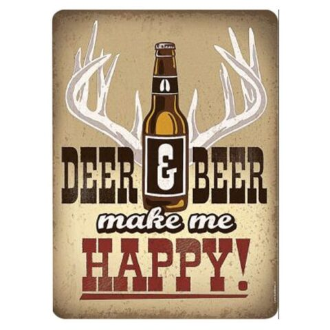 "Open Road Brands Deer and Beer Make Me Happy Tin Sign 13""H x 9.5""W Embossed"