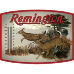 """Open Road Brands """"Remington Whitetail"""" Thermometer Tin Sign 14″x10.3″"""