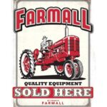 """Open Road Brands """"Farmall Quality Equipment"""" Embossed Tin Sign 10.237″x13″"""