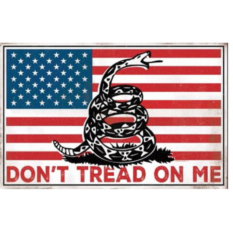 """Open Road Brands Don't Tread on Me Tin Sign 9""""H x 14""""W Embossed"""