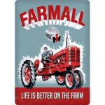 """Open Road Brands """"Farmall Life is Better"""" Embossed Tin Sign 10″x14″"""