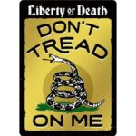 "Open Road Brands ""Don't Tread On Me"" Gadsden Flag Embossed Tin Sign with Knock Out 10""x14"""