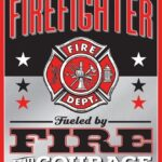 "Open Road Brands Embossed Tin Sign ""Firefighter Fire and Courage"" Tin Sign 10 x 12 in."