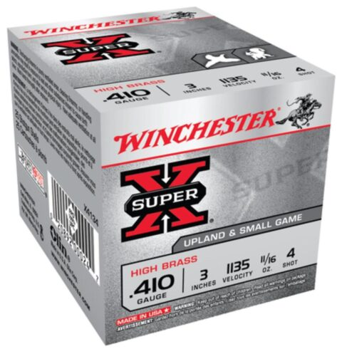 "Ammo Winchester Super-X High Brass 410 ga 3"" 1/2 oz 4 Shot 25Box"