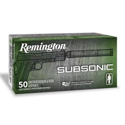 Remington Subsonic .45 ACP Ammunition 50 Rounds 230 Grain Flat Nose Enclosed Base Projectile