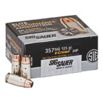 SIG Sauer Elite Performance V-Crown Ammunition 20 Rounds .357 SIG 125 Grain V-Crown Jacketed Hollow Point Projectile 1356fps