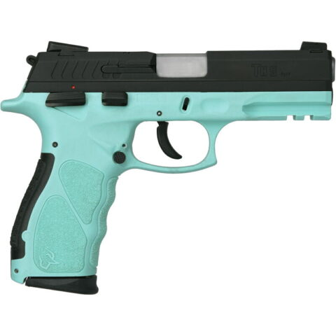"Taurus TH9 9mm Luger Full Size Semi Auto Pistol 4.25"" Barrel 17 Rounds Novak Style Sights Ambidextrous Thumb Safety Cyan Polymer Frame Black Finish"