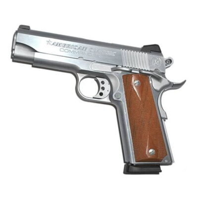 "American Classic 1911 Commander Semi Automatic Handgun .45 ACP 4.25"" Barrel 8 Rounds Checkered Wood Grips Hard Chrome Finish ACC45C"