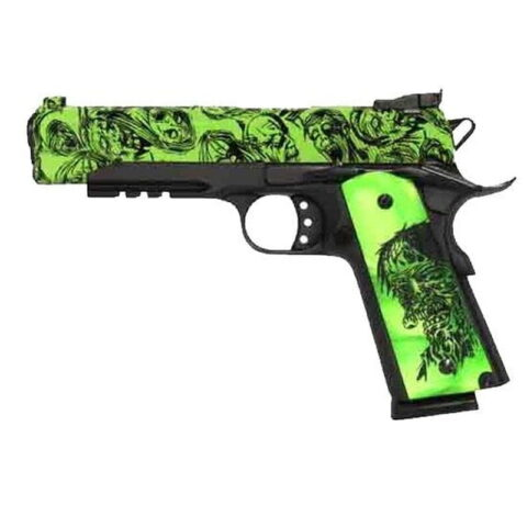 "Iver Johnson 1911A1 Eagle LR Zombie Semi Auto Handgun .45 ACP 5"" Barrel 8 Rounds Zmbie Engraved Grips Matte Black Frame GIJ15"