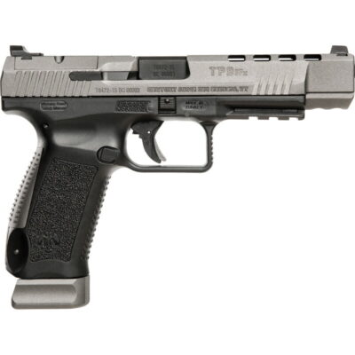 "Canik TP9SFx 9mm Luger Semi Auto Pistol 5.2"" Match Grade Barrel Fiber Optic Front Sight Interchangeable Backstraps Polymer Frame Tungsten Gray/Black Finish"