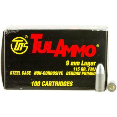 TulAmmo 9mm Ammunition 100 Rounds, Steel Case FMJ, 115 Grains
