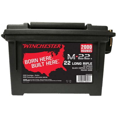 Winchester M-22 Ammunition 22 Long Rifle 40 Grain Black Plated Lead Round Nose Ammo Can of 2000