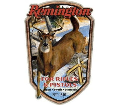 OPEN ROAD BRANDS EMB TIN SIGN REMINGTON RIFLES & PISTOLS