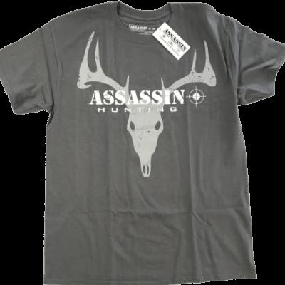 Men's T-Shirt Assassin Deer Skull Design Charcoal