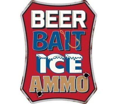 OPEN ROAD BRANDS DIE CUT EMB TIN SIGN BEER,BAIT,ICE,AMMO