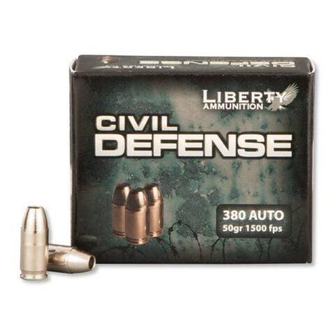 Ammo .380 ACP Liberty Civil Defense 50 Grain Copper HP Bullet 1500 fps 20 Rounds LACD380023