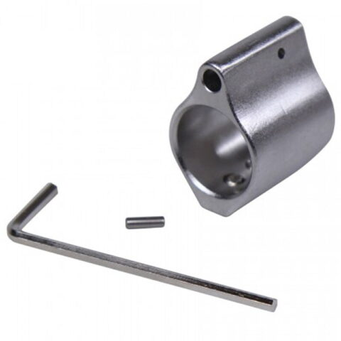 Guntec AR-15 Matte Stainless Steel Low Profile Gas Block 0.750 Diameter Brushed Matte Finish