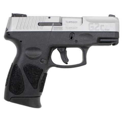 """Taurus G2C Compact Semi Auto Pistol 9mm Luger 3.2"""" Barrel 12 Rounds Double Action Only 3 Dot Sights Matte Stainless Steel Slide/Black Polymer Frame"""