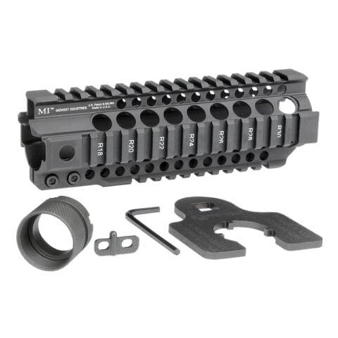 "Midwest Industries AR-15 Combat Rail T-Series 7.25"" One Piece Free Float Hand Guard 6061 Aluminum Hard Coat Anodized Matte Black Finish"